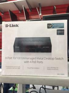 DLINK DES- 1008PA METAL DESKTOP SWITCH WITH POE PORTS