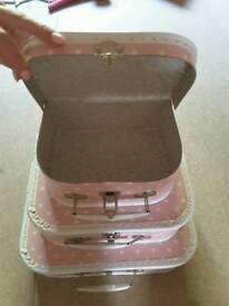 MINI SUITCASE RETRO STORAGE BOXES - SET OF 3 - PINK & WHITE POLKA DOTS