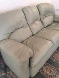 Lovely sage green G Plan leather 3 piece suite excellent condition