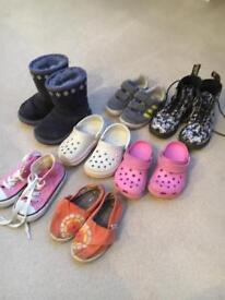 Bundle of 7 pairs of little girls label shoes - sizes 5&6