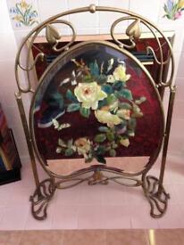 Rare vintage art nouveau brass/glass fire screen