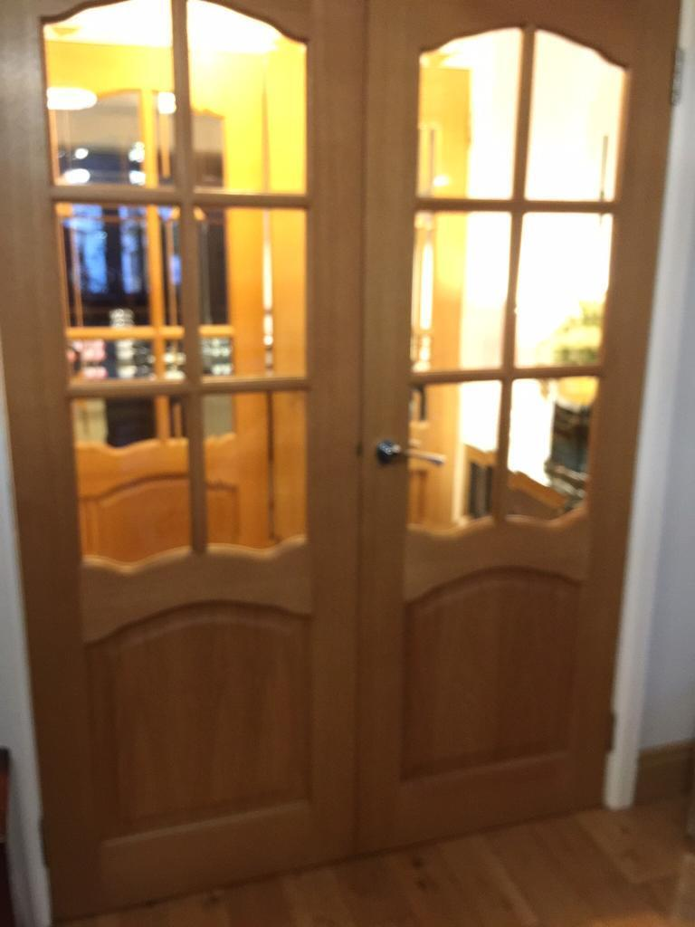 💝💝💝OAK DOORS- PAIR OF FRENCH DOORS- COMPLETE WITH CHROME HANDLES 💝💝💝