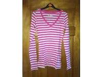 Pink and white striped hollister tshirt - size Small