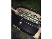 Grey BMW tailgate broken glass
