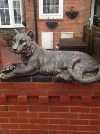 Huge solid bronze affect tiger statue