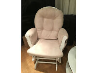 Kub Haywood Reclining Glider Nursing Chair and Footstool in White