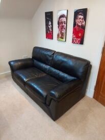Top Quality, Real Black Leather Sofa
