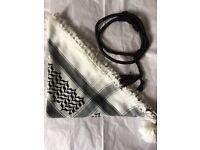 Shemagh keffiyeh arafat black and white cotton scarf