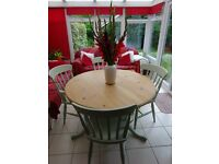 Shabby Chic Painted Pine Round Pedestal Table with Four Carver Chairs.