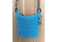 Blue/green pretty summer shoulder bag with beads, interior zip for valuables. NEW