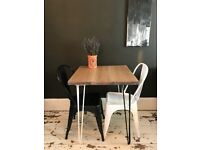 ARTEMIS Handmade Monochrome Hairpin Leg Dining Table For Two With Two Tolix Chairs Cafe Industrial