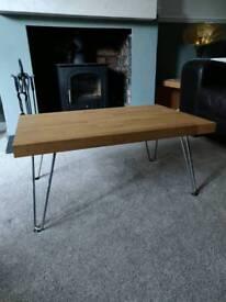 Oak coffee table with zinc hairpin legs