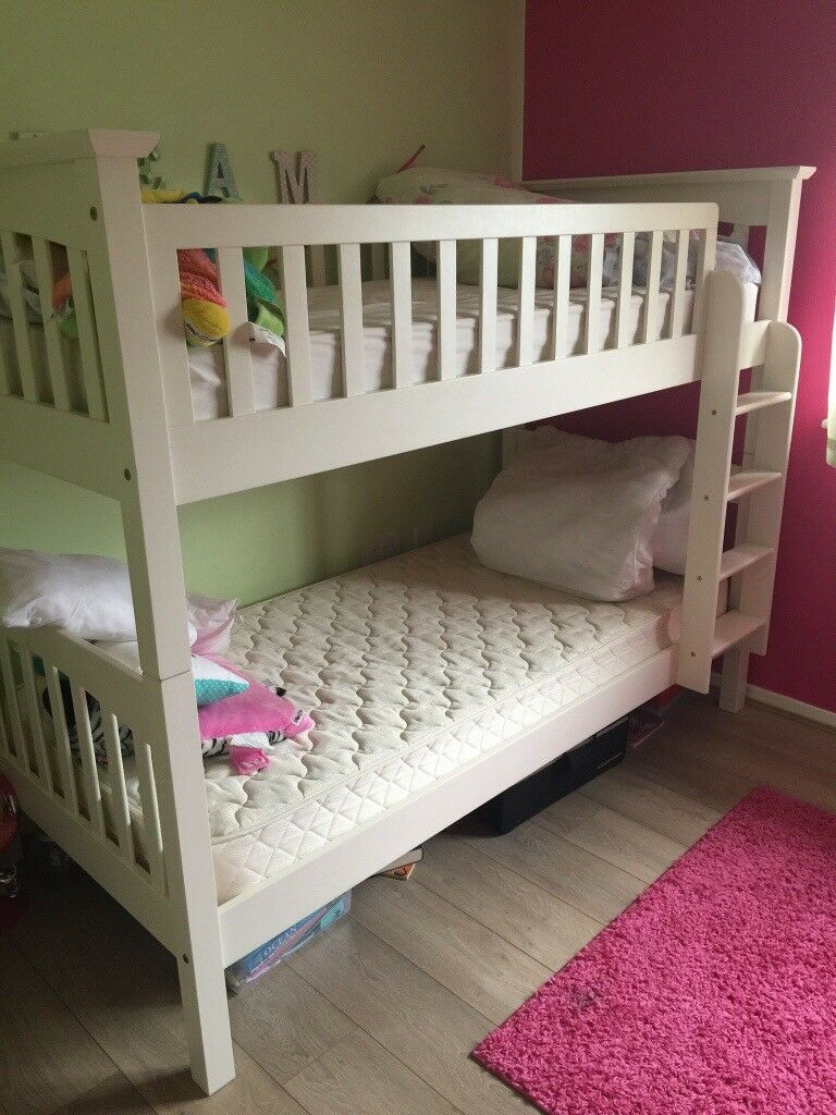 Full Size Single White Solid Wood Bunk Beds With Mattresses From M S