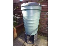 LARGE GREEN GARDEN RAINWATER BUTT, 37 inches high, 25 inches wide (at the top), comes with stand