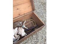 Antique pine box. little woods Badminton set