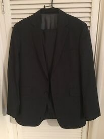 Mens Grey Pin Stripe Suit from Burton - Jacket 40 Regular - Trousers 34 Regular - Dry Cleaned