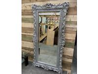Stunning large luxurious platinum silver designer leaner mirror