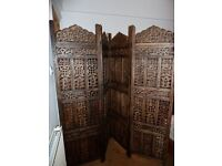 Indian hand carved wooden screen