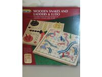 Spears Wooden Snakes and Ladders and Ludo - New