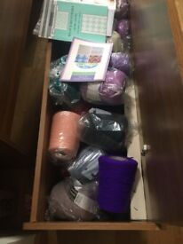 Knitting machine extras with lots of wool