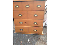 REDUCED !!!! REDUCED !!!! REDUCED !!!! BARGAIN !!!! WOODEN CHEST OF DRAWERS WITH BRASS HANDLES