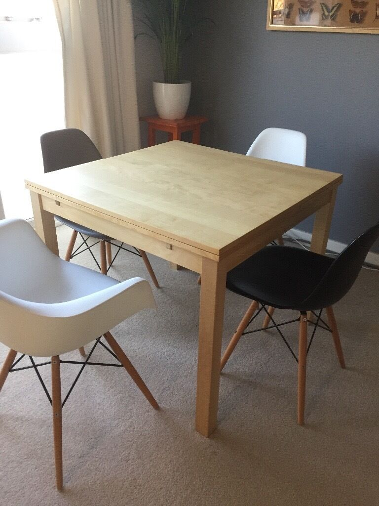Ikea extendable table bjursta birch seats 4 6 80 in for Table 4 personnes ikea