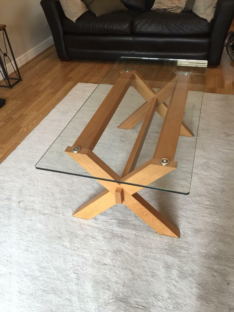Good Quality Oak Glass Coffee Table For