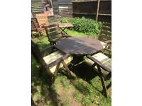 Wooden Garden table 4 chairs