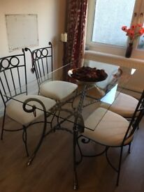 Cast iron dining table with 6 chairs