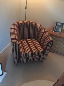 Burgundy striped tub chair