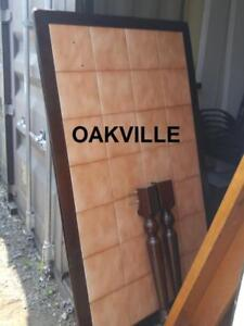 Oakville LARGE KITCHEN TABLE Solid Dark Wood INLAID Adobe Tiles Heavy Brown No chairs Dining Room Rectangle rectangle