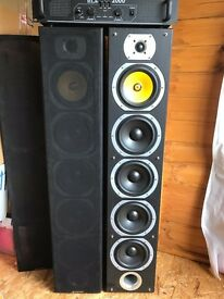 Skytronic 600W Speakers With Skytec 2000W SPL Series Amplifier *Audio Cables Included
