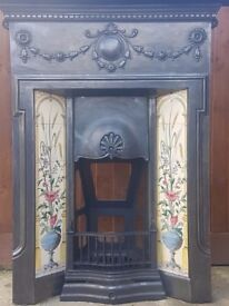 Restored original cast iron tiled fireplace