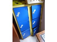 Vintage Yellow and Blue Industrial Locker / School Locker