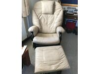 Leather recliner and footrest