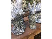 Stone peter rabbit garden ornament