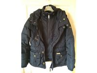 Padded navy winter coat with hood