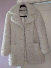 Topshop white faux fur coat