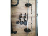 Weight Set - dumbbell and barbell, EZ Bar, 85kg+ plates
