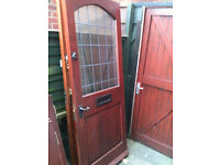 Exterior hardwood door with frosted double glazed glass (2 tiny stone chip marks on glass)