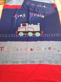 Next Boys Curtains And Single Duvet Cover Train Choo Choo 54 x 54 inch