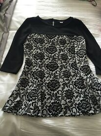 River island girls black and cream top size 11-12