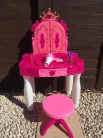 Pink vanity table with lights, sounds and accessories