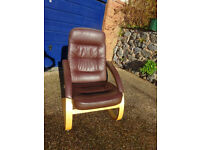 BROWN LEATHER AND NATURAL WOOD CHAIRS, EXCELLENT CONDITION, 4 AVAILABLE