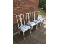 Queen Anne vintage dining chairs x 4. Rustic/boho/shabby chic.