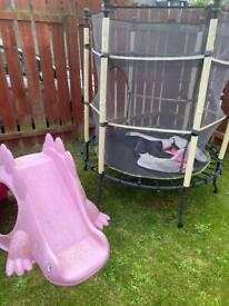 Free trampoline and slide