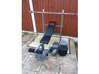 Pro Power weights Bench with 65kg Weights Set. Can deliver