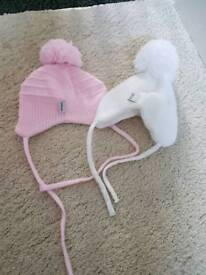 pink and white satila hats