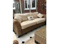 Rattan 3 seater sofa, tub chair and coffee table £350