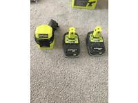 Ryobi batteries and charger